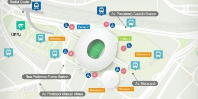 Mapa do estadio do Maracanã accès