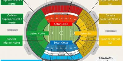 Mapa do estadio do Maracanã secteurs